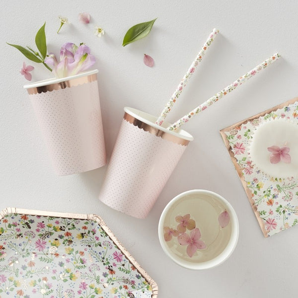 Rose Gold Foiled Polka Dot Paper Cups - Ditsy Floral