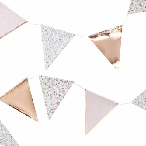 Rose Gold Foiled Floral Print Bunting - Ditsy Floral