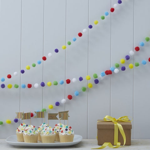 Pom Pom Garland - Happy Birthday Kraft