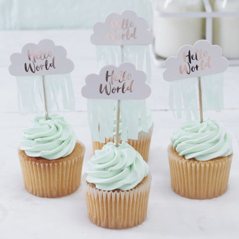 Rose Gold & Cloud Baby Shower Cupcake Toppers - Hello World