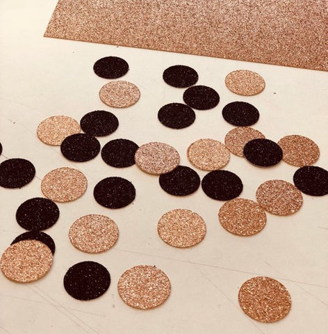 Rose Gold and Black Glitter Circles Confetti