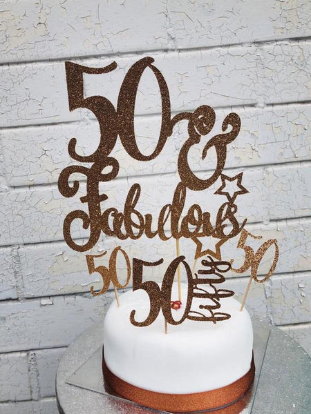 Fifty and Fabulous Cake Topper