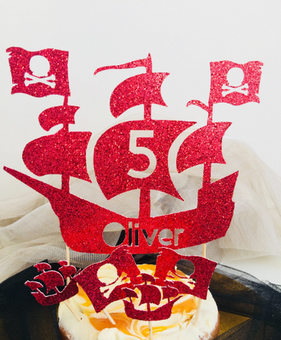 Pirate Ship Cake Topper - Personalized Name and Age