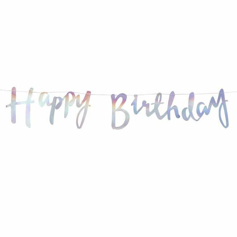 Iridescent Script Happy Birthday Bunting - Iridescent Party
