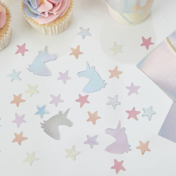 Iridescent Foiled Unicorn And Star Confetti - Make A Wish
