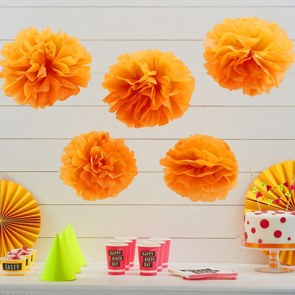Tissue Paper Pom Poms - Neon Orange