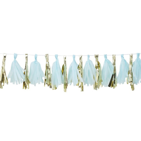 Blue And Gold Tassel Garland - FiestaPartyStore.com