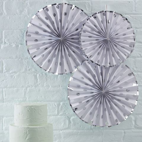 Silver Foiled Polka Dot Paper Fan Decorations