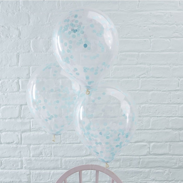 Blue Confetti Filled Balloons - FiestaPartyStore.com