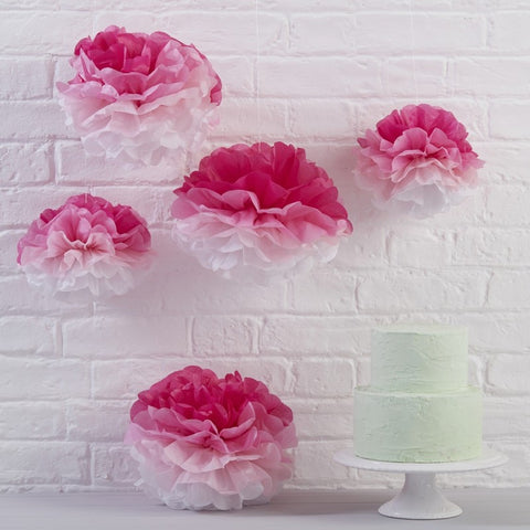 Pink Ombre Tissue Paper Pom Poms
