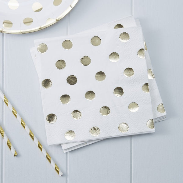 Gold Foiled Polka Dot Paper Napkins