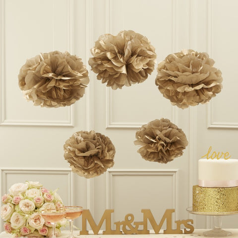 Tissue Paper Pom Poms - Metallic Gold