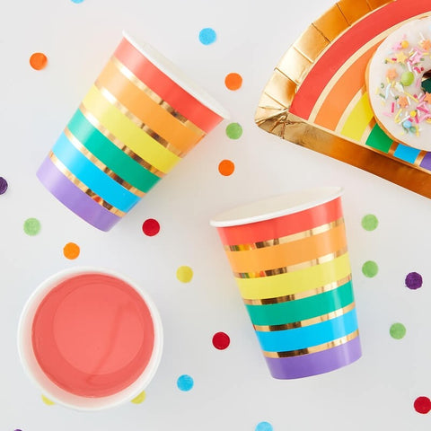 Rainbow & Gold Foiled Paper Party Cups