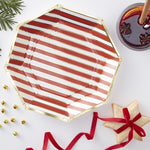 Gold Foiled Candy Cane Stripe Paper Plates