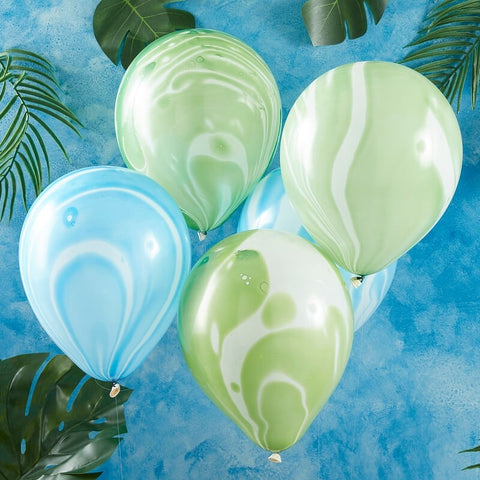 Green And Blue Marble Party Balloons
