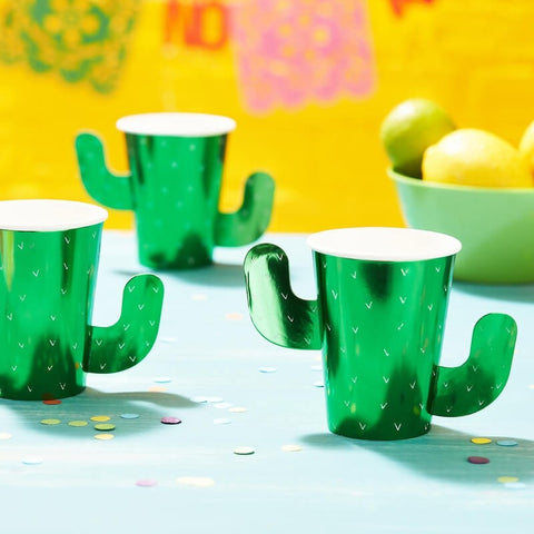 Green Foiled Cactus Paper Cups
