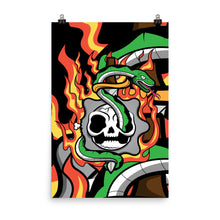 Load image into Gallery viewer, Flaming Skull & Snake Poster