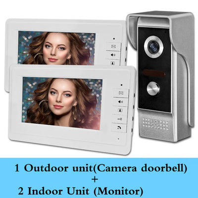 7'' TFT LCD Wired Video Intercom Doorbell Door Phone System for home Indoor Monitor 700TVL IR Outdoor Camera Metal 100 meters