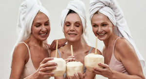 Mature women enjoying a hair spa day at home to promote healthier scalp and stronger hair growth