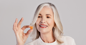 These delicious and fortifying gummies hold by our beautiful gray hair model, assist your body's creation of better hair from the inside out by: