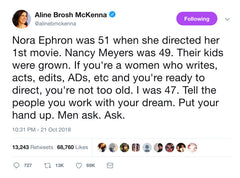 Aline Brosh McKenna tweet on Nora Ephron and Nancy Meyers