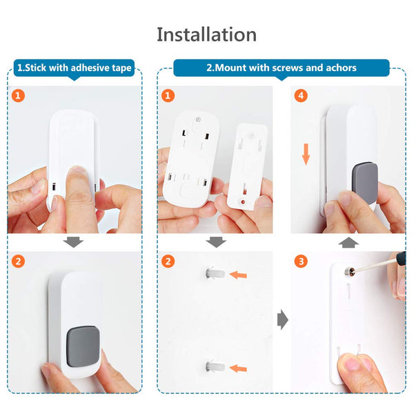 Wireless Doorbell PHYSEN No Battery Required