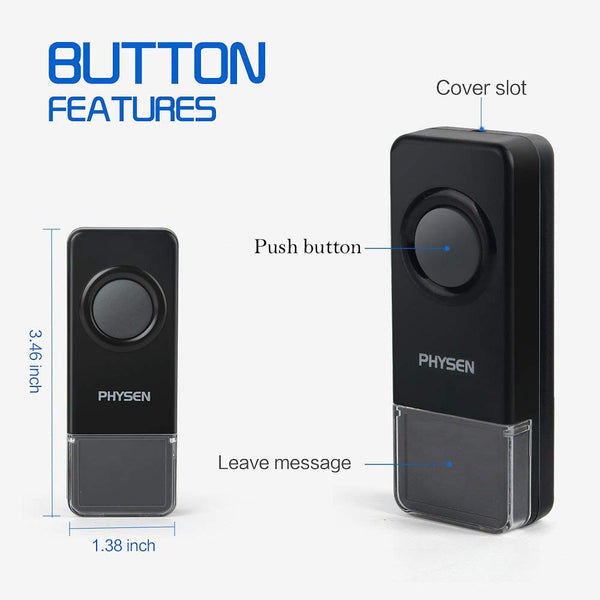wireless doorbell CWB-2T2-black waterproof button side