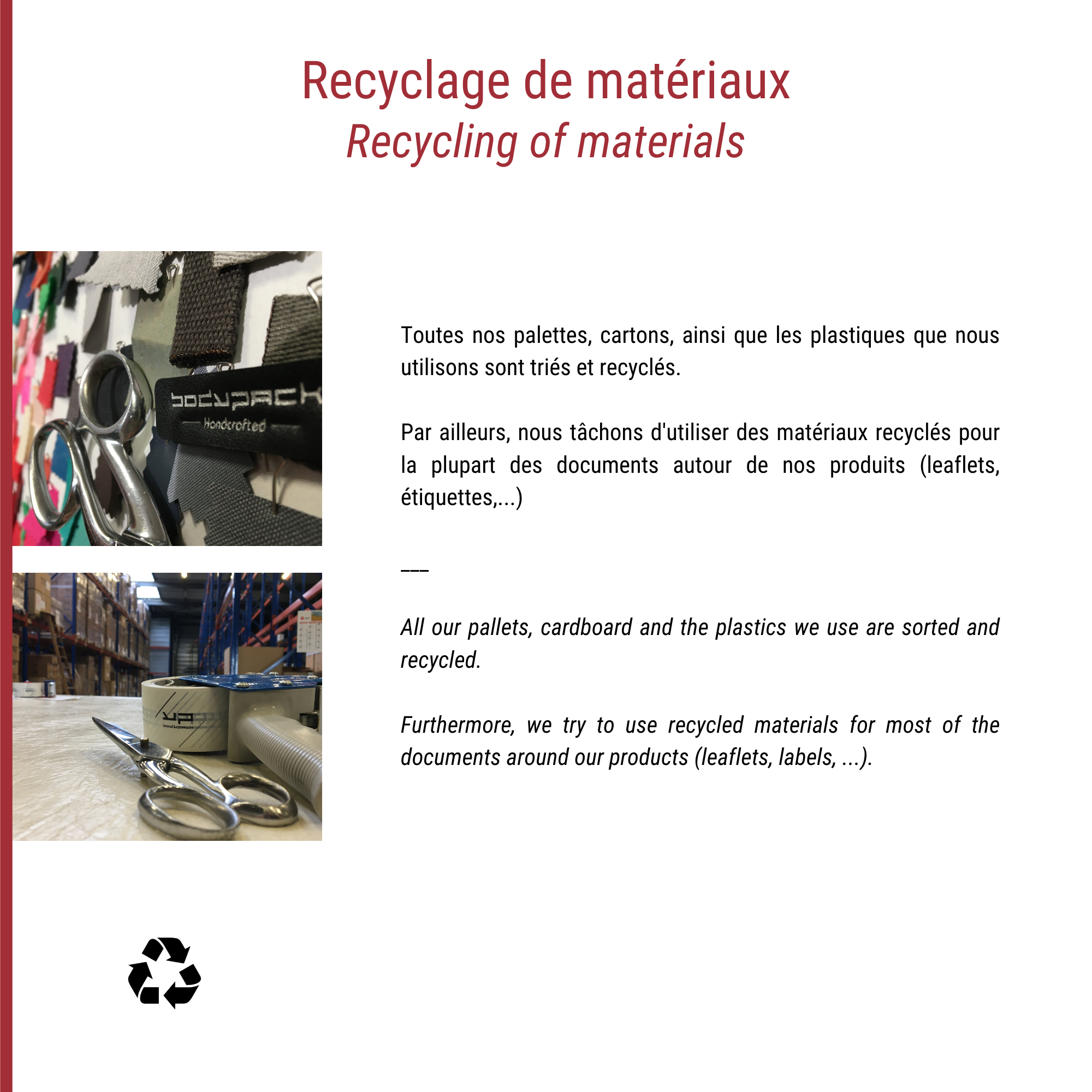 Recycling of materials essential for the environment