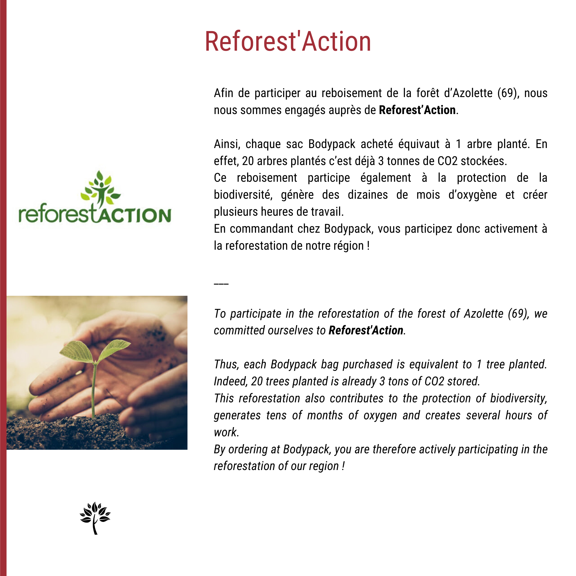 Reforestation one of the brand's priorities