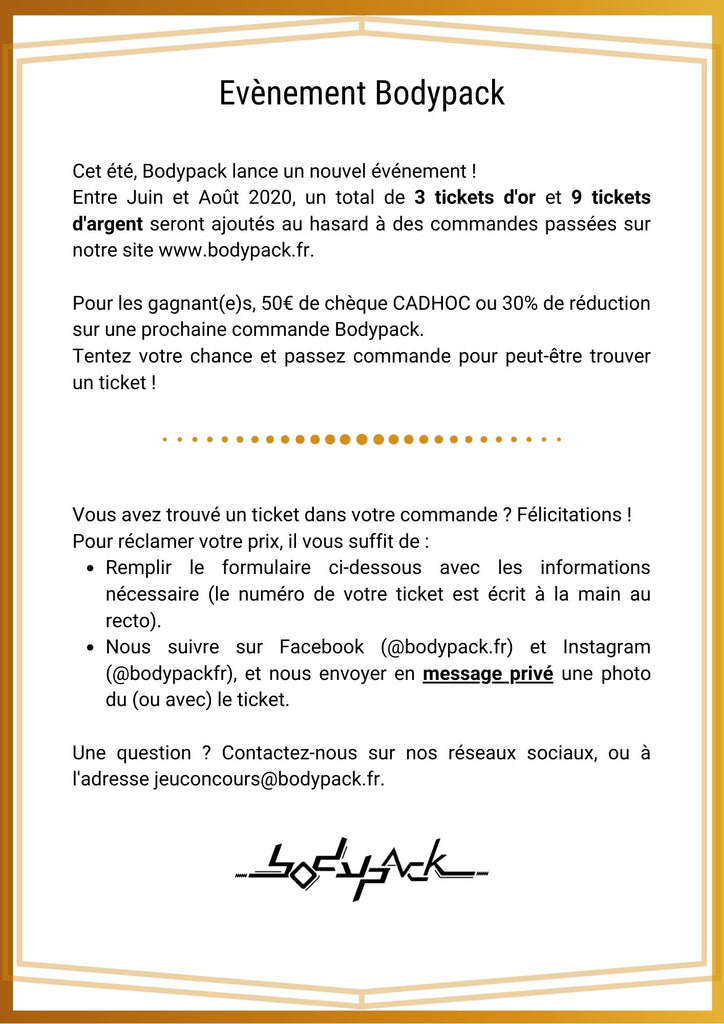 Bilhete de evento Bodypack d'or