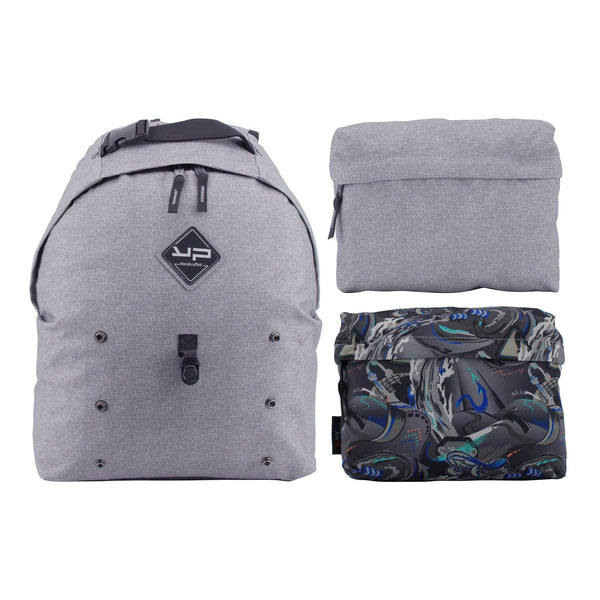 Makemypack grey backpack customizable 3 in 1, 2 pockets 1 free strap