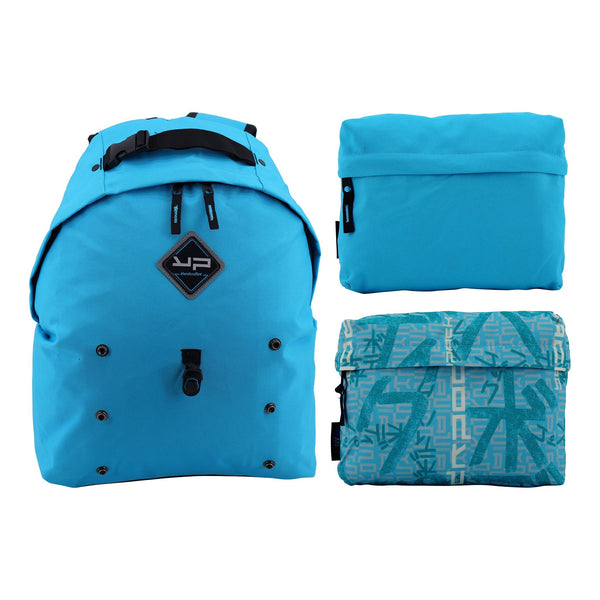 Makemypack backpack Customizable sky blue 3 in 1, 2 pouches 1 shoulder strap free