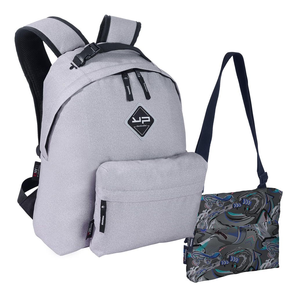 3 in 1 customizable gray Makemypack backpack, 2 free pockets + 1 shoulder strap - Bodypack