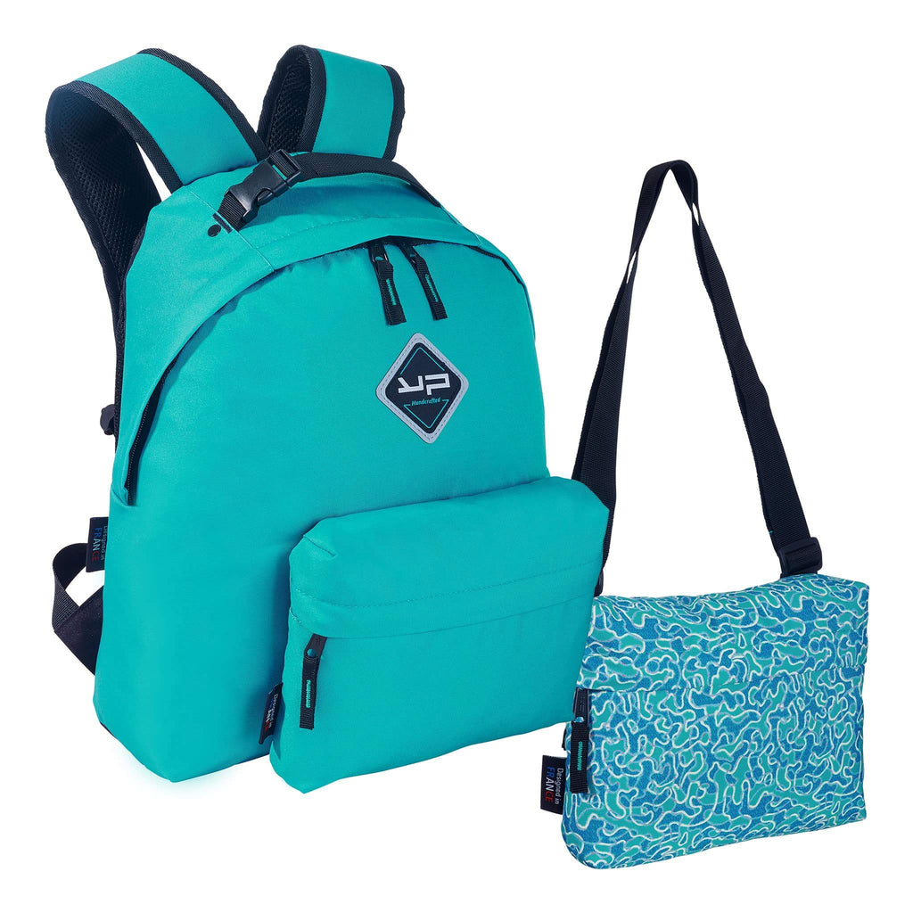 Turquoise custom backpack 3-1, 2 pockets + 1 free package