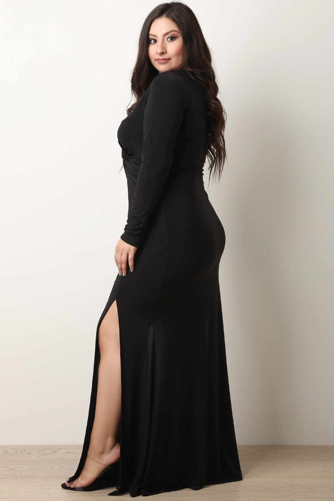 Plus Size Maxi Skirt With Double Slits