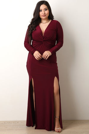Plus Size Center Knot Front Double Slit Maxi Dress – Buy the ...