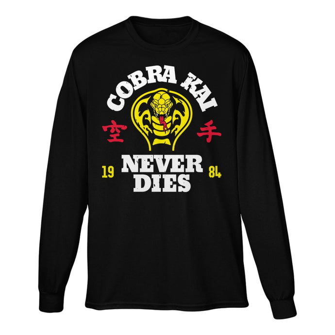 Cobra Kai Never Dies Black Long Sleeve Tee