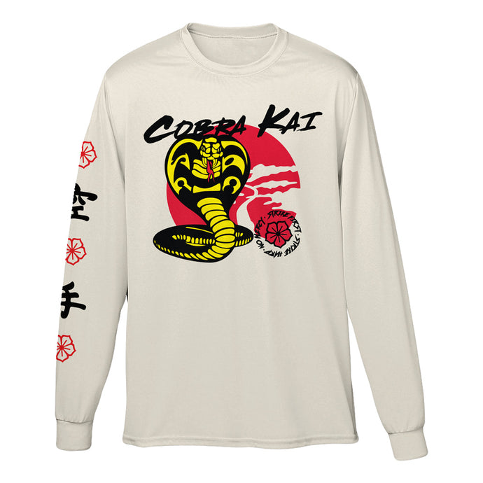 Cobra Kai Strike First White Long Sleeve Tee
