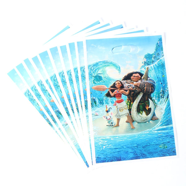 10pcs Lot Moana Theme Cartoon Plastic Gift Bag Baby Shower Happy Birthday For Kids