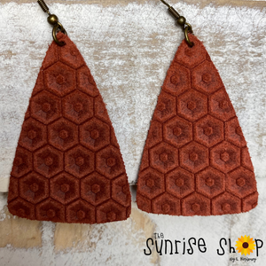 Rust Honeycomb Leather Triangle