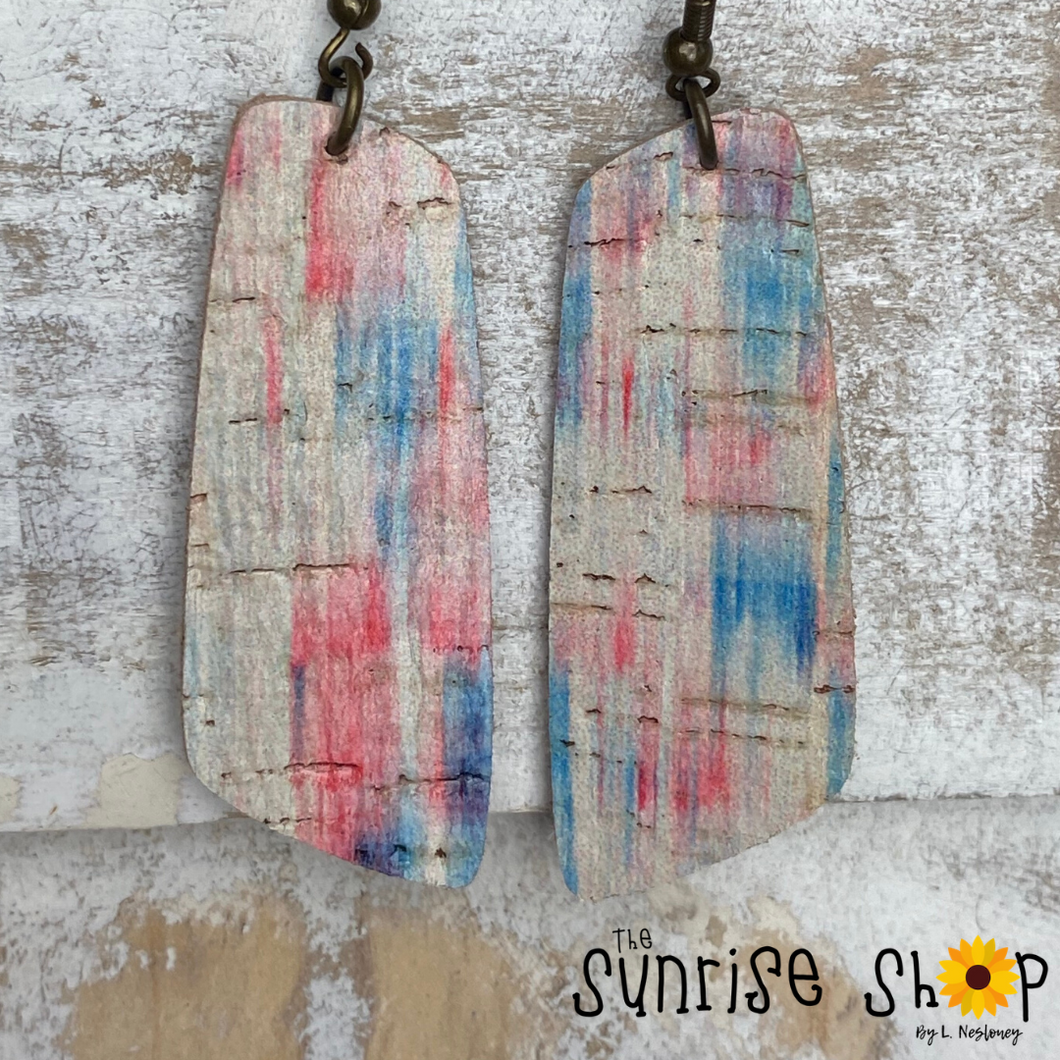 Red, White, & Blue Bars - Cork on Leather