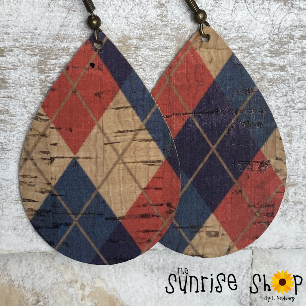Red & Blue Plaid Cork