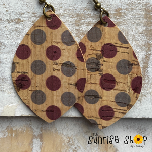 Maroon & Grey Dots - Cork