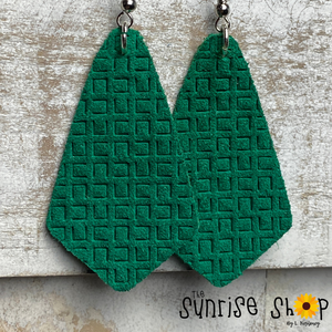 Emerald Green Pointed Teardrop - Leather