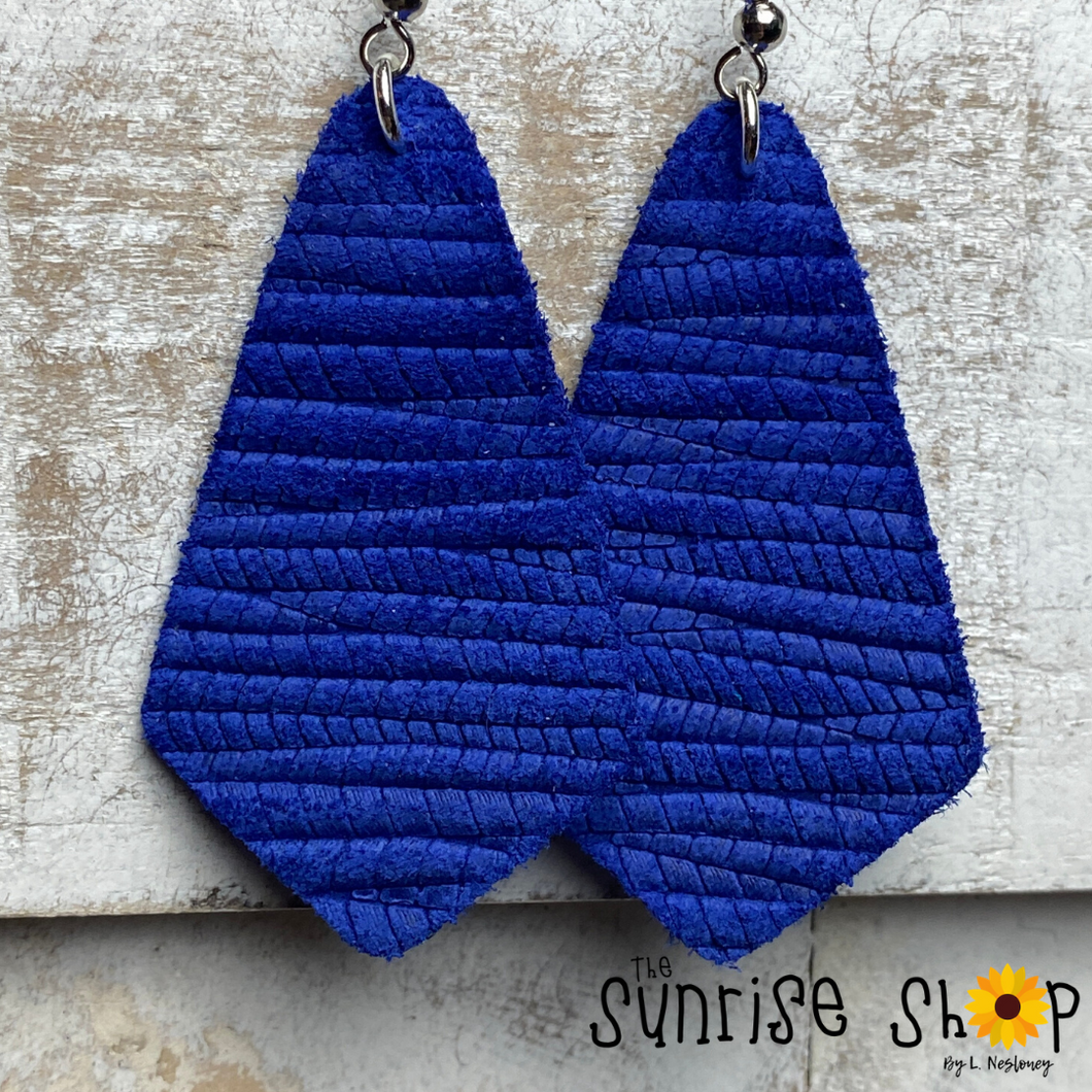 Royal Blue Pointed Teardrop - Leather