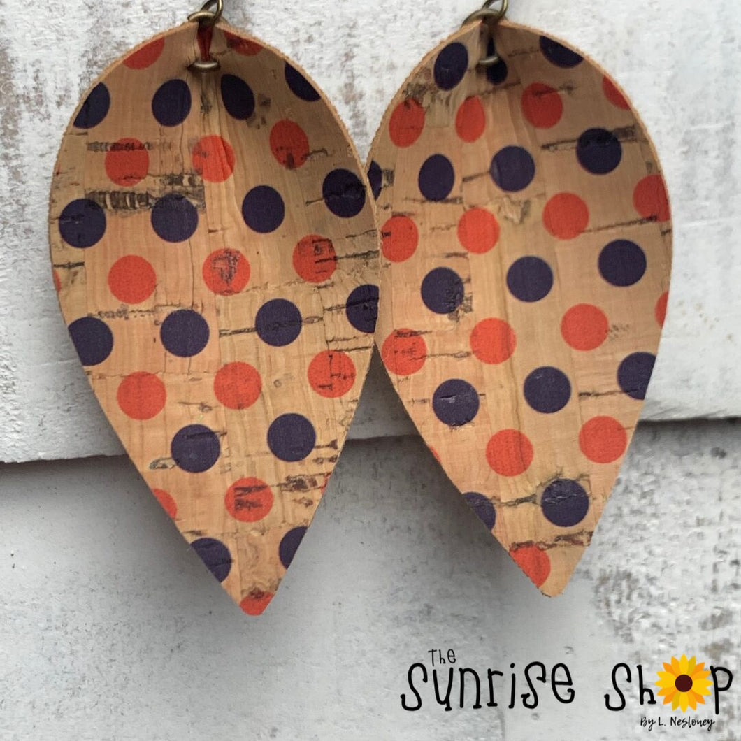 Orange & Blue Dots - Leaf