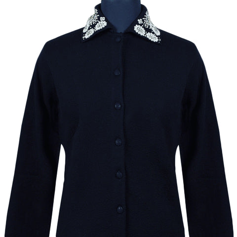 Black sweater with white crystal embellished collar