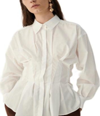 White Fitted Peplum Blouse