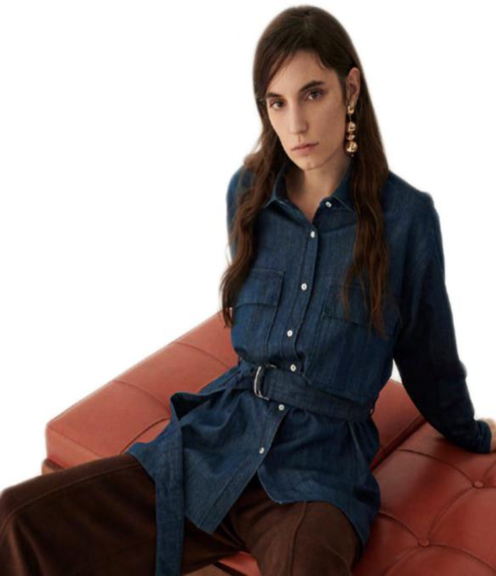 Denim Belted Blouse