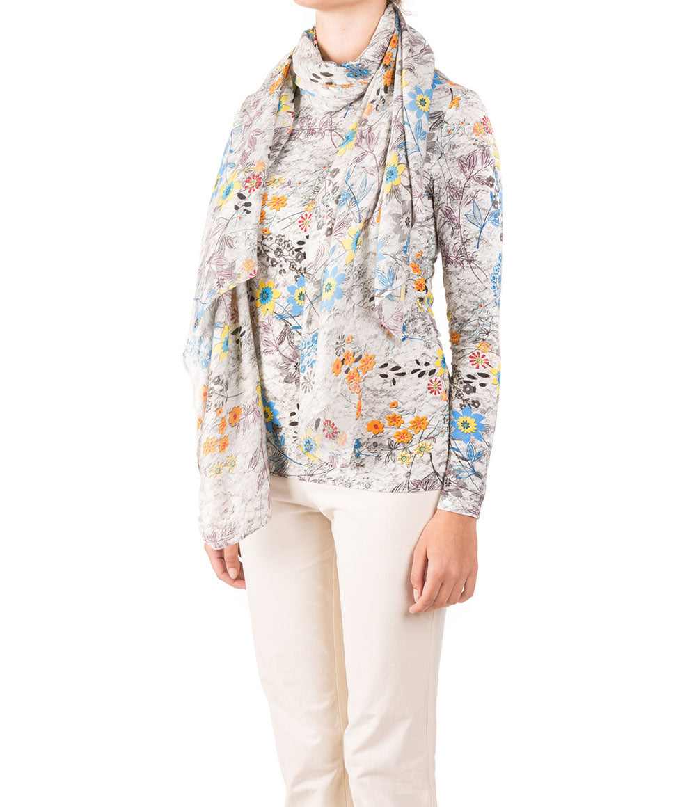 FALL FLORAL TOP AND SCARF SET